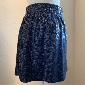 Garnet Hill Sequin Black Mini Skirt